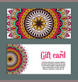 set templates of gift cards with color ornament vector image