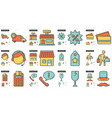 shopping line icon set vector image
