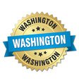 Washington round golden badge with blue ribbon vector image