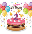 happy birthday cake with candle number vector image