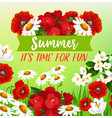 summer flowers greeting card vector image