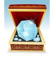 big brilliant diamond in gift box vector image vector image