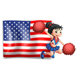 A cheerer and the USA flag vector image vector image