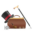 old valise and retro mrns accessories vector image