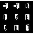 white door icon set vector image vector image