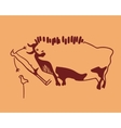 bull frightened man and weft vector image