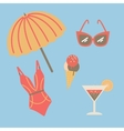 Collection of beach summer accessories vector image
