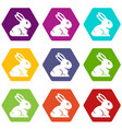 easter bunny icon set color hexahedron vector image