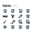 flat teeth icons set vector image