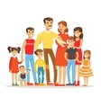 Happy Big Caucasian Family With Many Children vector image