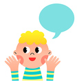 Happy cartoon boy with speach bubble vector image
