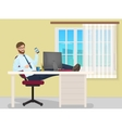 Successful businessman having rest on workplace in vector image