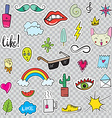 Set of Patches Elements like Flower Heart Crown vector image