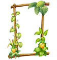 A framed wood with vine plants vector image vector image