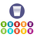 trash can with pedal icons set flat vector image