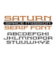Square serif font in computer style vector image