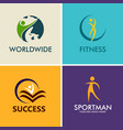 people fitness sport logos vector image