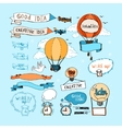 Idea hand-drawn elements Bulbs airplanes vector image vector image