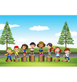 Children standing on logs in the park vector image