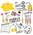 Doodle colored art materials collection vector image
