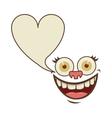 face cartoon gesture with dialog heart shape box vector image