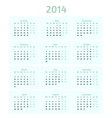 Flat style 2014 year calendar vector image