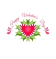 Happy valentines day Red heart and plant vector image