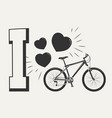 i love bicycle print design - print with bicycle vector image