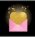 pink envelope on a black background golden heart vector image