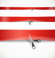 Scissors cutting the red advertising ribbon vector image
