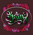 unique handwritten lettering spring on a black vector image