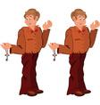 Happy cartoon man standing in brown uniform with vector image