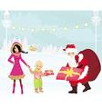santa claus distributes gifts vector image vector image