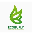 Green eco butterfly logo or icon vector image