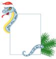 Cartoon snake keeps a card vector image