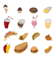Fast food cartoon icons vector image