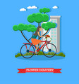 flower delivery in flat style vector image