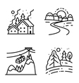 icons set with winter cute landscapes vector image