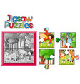 jigsaw puzzle game with kids camping out vector image