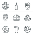 Line Icons Style Fast Food Icons vector image