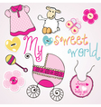 lovely elements for baby girl vector image vector image