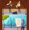 street artists cartoon horizontal banners vector image