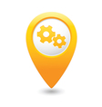 gear icon yellow map pointer vector image vector image