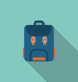 Flat Icon of Backpack with Long Shadow on blue vector image