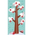 Big tree with white snow on the branches birds vector image