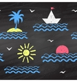 Seaside chalked pattern vector image vector image