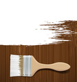 Paintbrush with white paint on a wooden surface vector image vector image