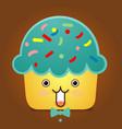 cute cupcake character vector image