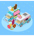 Food Trucks Isometric Composition Poster vector image