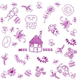 purple house and garden doodle art vector image